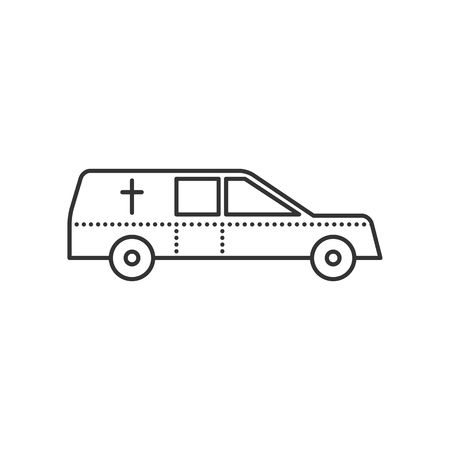 hearse: Coffin transport. Hearse car flat icon. Symbol of death and funeral. Vector outline illustration isolated on white background. Thin line style Illustration