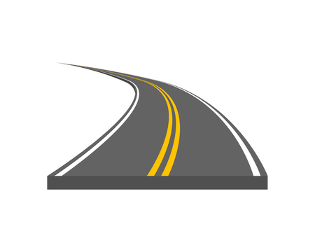 Road vector illustration. Curved highway with markings. Ilustração