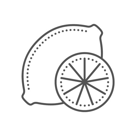 rind: Lemon icon. Fresh citrus fruit. Thin line style. Black and white. Vector illustration isolated on white background. Flat design.