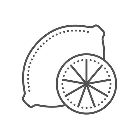 rinds: Lemon icon. Fresh citrus fruit. Thin line style. Black and white. Vector illustration isolated on white background. Flat design.
