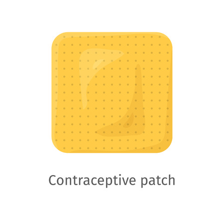 Contraception method patch. Estrogen contraceptive patch. Female hormonal contraceptive. Medical birth control. Planning pregnancy. Flat vector illustration isolated on white background Ilustração