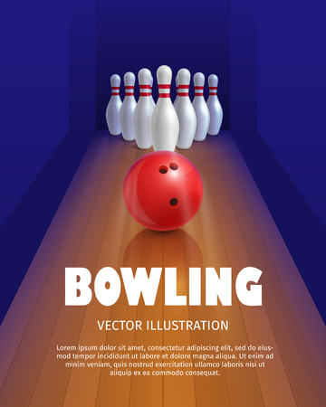 bowl game: Bowling ball and skittles. Equipment for game. Sport competition. Red bowl and bowling pins. Vector illustration isolated on white background.