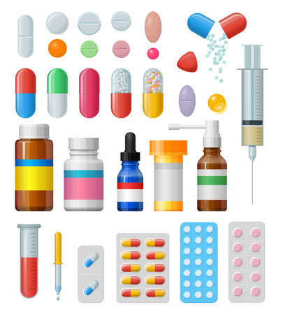 medicament: Set of vector pills and capsules. Icons of medicament. Tablets in blisters: painkillers, antibiotics, vitamins and aspirin. Pharmacy and drug symbols. Medical illustration on white background.
