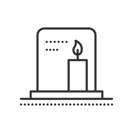 rest in peace: Tombstone with candle. Gravestone flat icon. Symbol of death and funeral. Gravestone on cemetery. Vector outline illustration isolated on white background. Thin line style.