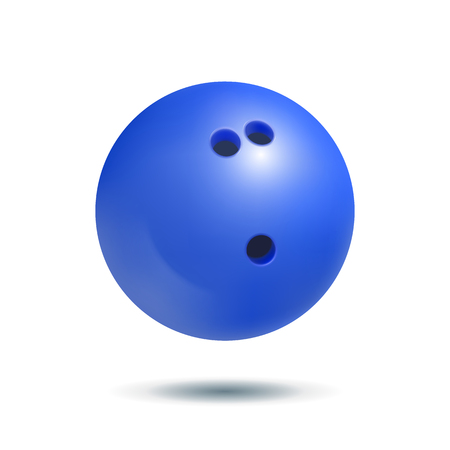 Blue bowling ball on a white background. Realistic vector illustration Illustration