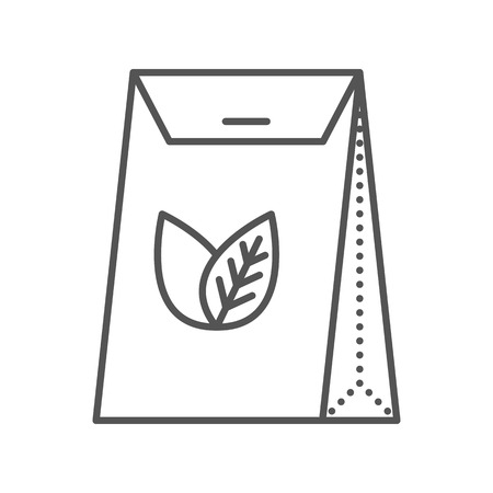 Tea packed in a paper bag. Packaging for herbal tea or spices. Vector flat icon. Thin line style. Outline illustration isolated on white background. Vettoriali