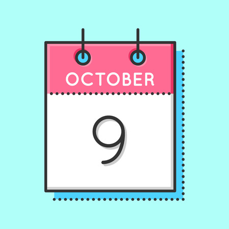 9th: Vector Calendar Icon. Flat and thin line vector illustration. Calendar sheet on light blue background. October 9th