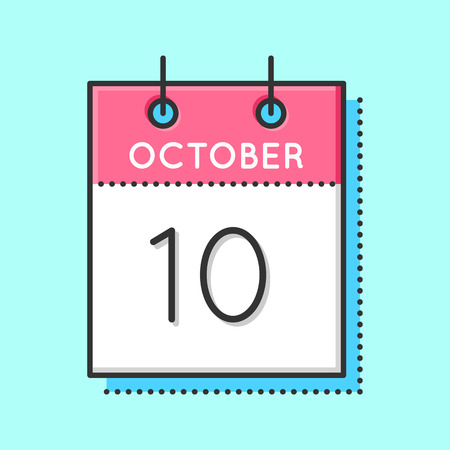 10th: Vector Calendar Icon. Flat and thin line vector illustration. Calendar sheet on light blue background. October 10th Illustration