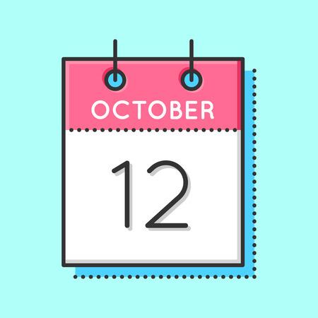 Vector Calendar Icon. Flat and thin line vector illustration. Calendar sheet on light blue background. October 12th Vettoriali