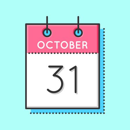 31th: Vector Calendar Icon. Flat and thin line vector illustration. Calendar sheet on light blue background. October 31th Illustration