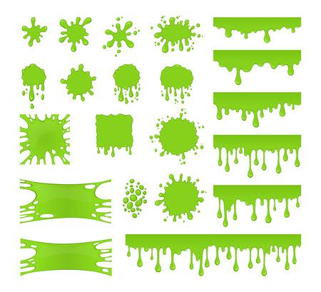 スライム ベクトルを設定します。しみ、水しぶきや汚れのコレクションです。緑色の液体。滴はスライムに孤立した白い背景です。