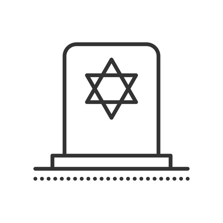 grave stone: Tombstone with Star of David. Jewish grave stone. Symbol of death and funeral. Gravestone flat icon. Vector outline illustration isolated on white background. Thin line style.