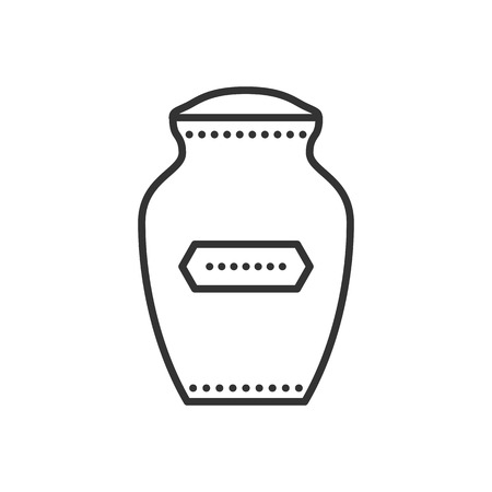 urn: Funeral urn icon. Urn for ashes. Symbol of cremation. Vector outline illustration isolated on white background. Thin line style.