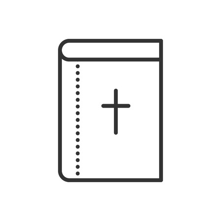 baptist: Holy Bible flat icon. Symbol of Christianity religion. Christian book with cross. Vector outline illustration isolated on white background. Thin line style.
