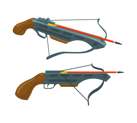 crossbow: Crossbow with arrow. Weapon and archery. Vector flat icon. Illustration isolated on white background. Thin line style.