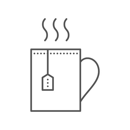 teabag: Cup with hot tea and teabag. Mug with herbal beverage. Vector flat icon. Illustration isolated on white background. Thin line style.