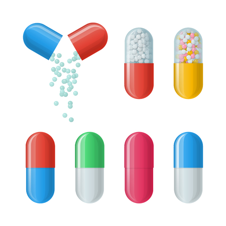 Set of vector capsules. Icons of medications. Pharmaceutical tablets: painkillers, antibiotics, vitamins and aspirin. Pharmacy and drug symbols. Medical illustration on white background