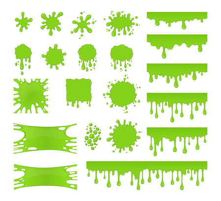 Slime vector set. Collection of blots, splashes and smudges. Green liquid. Drops slime isolated on white background.