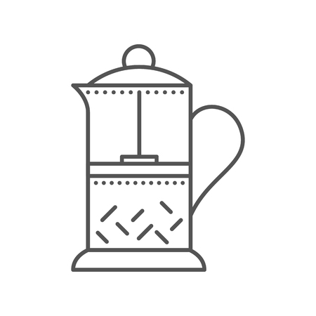 Glass teapot for hot coffee and tea. French press flat icon. Kitchen equipment. Vector outline illustration isolated on white background. Thin line style. Illustration