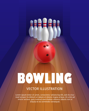 Bowling ball and skittles. Equipment for game. Sport competition. Red bowl and bowling pins. Vector illustration isolated on white background.