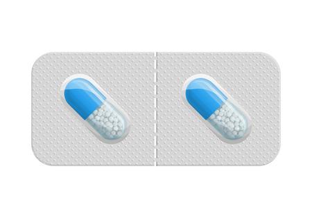약의 물집 팩. 의학 평면 아이콘입니다. 캡슐 포장. 약국의 의료 기호. 벡터 일러스트 레이 션 흰색 배경에 고립입니다.