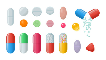 medications: Set of vector pills and capsules. Icons of medications. Pharmaceutical tablets: painkillers, antibiotics, vitamins and aspirin. Pharmacy and drug symbols. Medical illustration on white background Illustration