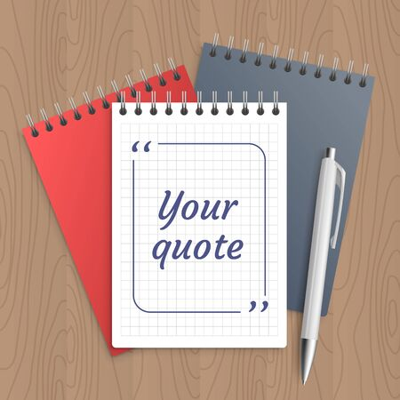 bubble pen: Quote text bubble on white paper note. Blank template, bubble for quotation. Empty page. Pen and note paper with wooden workplace table - with office tools. Vector illustration.