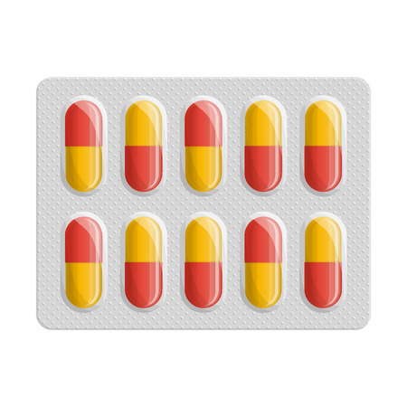 Blister pack of pills. Medicine flat icon. Capsule packaging. Medical symbol of pharmacy. Vector illustration isolated on white background.