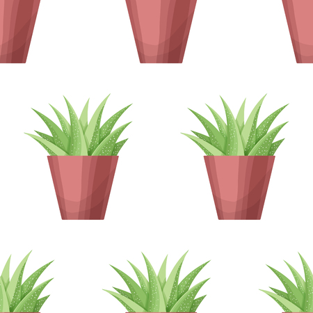 houseplant: Agava in pot - floral seamless pattern. Vector cute succulent plant on white background. Botanical wallpaper. Green leaf. Nature illustration with mexican houseplant in cartoon style