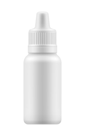 eye health: eye spray for nose or eye health. Realistic white plastic container for fluid. Mockup bottle with medical drug for nose or eye . Pharmacy blank packing medication vector illustration Illustration
