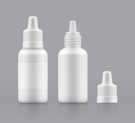 Vector nasal spray. Eye drops. Open and closed white plastic bottles. Container with medical drug for nose. Blank packing - vector isolated illustration Vettoriali