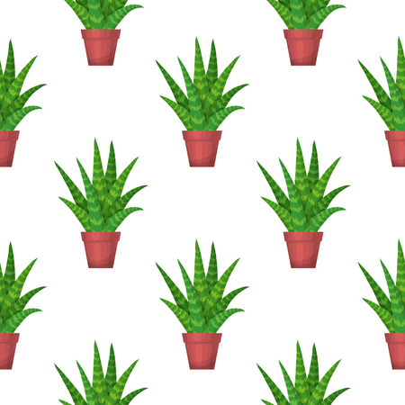 aloe vera plant: Aloe Vera in pot - floral seamless pattern. Vector cute succulent plant on white background. Botanical wallpaper. Green leaf. Nature illustration with mexican houseplant in cartoon style