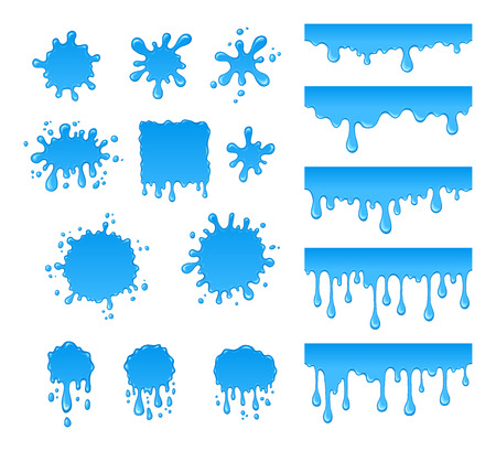 Vector set of water drops and blots. Collection of blue drops liquid and spray. Abstract vector shapes isolated on white background.