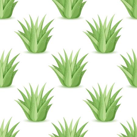 リュウゼツラン - 砂漠の植物とのシームレスなパターン。多肉の葉を持つ、自然の花背景。アロエのプランテーションを壁紙します。ベクトル図  イラスト・ベクター素材
