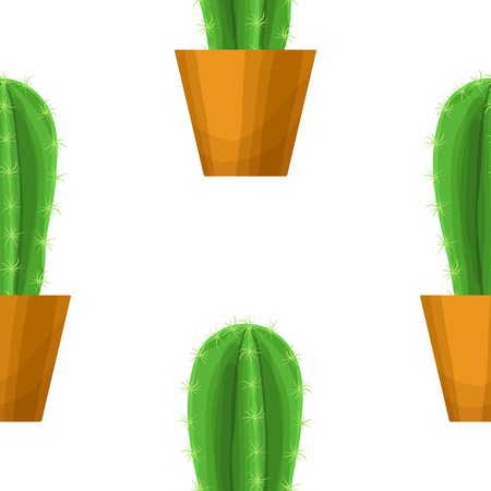 flowerpots: Cactus in pot - floral seamless pattern. Prickly pear - cute succulent plant on white. Green garden background. Summer nature illustration with mexican houseplant in cartoon style Illustration
