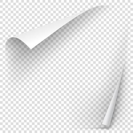 透明な背景に分離した影と白のグラデーション ペーパー カール。ベクトル ステッカー紙メモ メモやお知らせのため。あなたのデザインのベクトル