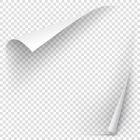 White gradient paper curl with shadow isolated on transparent background. Vector sticker paper note for memo and notice. Vector template illustration for your design Vettoriali