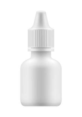 eye health: Nasal or eye spray for nose or eye health. Realistic white plastic container for fluid. Mockup bottle with medical drug for nose or eye . Pharmacy blank packing medication vector illustration