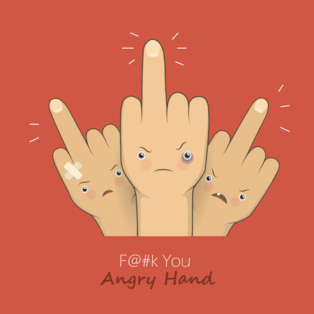 obscene gesture: Vector cartoon middle finger with angry emotion faces. Provocation gesture symbol expression rudeness. Concept illustration on red backgroung.