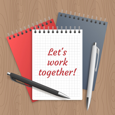 wooden work: Text: lets work together. Business concept. Message with success and motivation. Pen and note paper on wooden workplace table. Vector illustration.