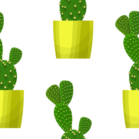 prickly: Opuntia cactus in pot - floral seamless pattern. Prickly pear - cute succulent plant on white. Green garden background. Summer nature illustration with mexican houseplant in cartoon style