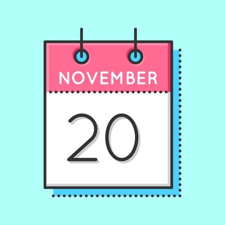 20th: Vector Calendar Icon. Flat and thin line vector illustration. Calendar sheet on light blue background. November 20th