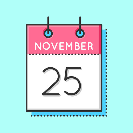 25th: Vector Calendar Icon. Flat and thin line vector illustration. Calendar sheet on light blue background. November 25th
