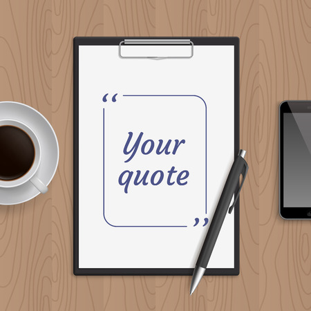bubble pen: Quote text bubble on white paper note. Blank template, bubble for quotation. Empty page. White paper on board, smartphone, cup with coffee and pen on wooden workplace table. Vector illustration.