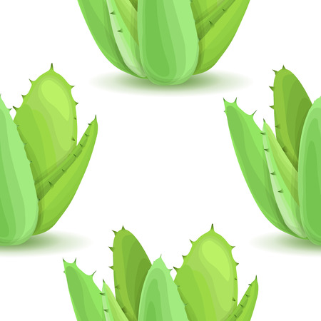 plantas del desierto: Agave - seamless pattern with desert plants. Nature floral background with green succulent leaf. Wallpaper with plantation of aloe. Vector illustration Vectores