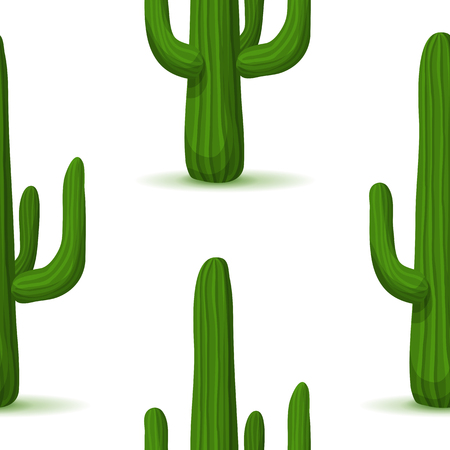 prickly pear: Prickly pear seamless pattern. Cactus vector background with desert plant. Green succulent on a white. Botanical illustration