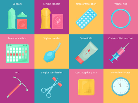 Contraception Methoden Cartoon-Symbole mit Kalender Injektion und orale Kontrazeption Symbole gesetzt. Geburtenkontrolle Vektor-Illustration.