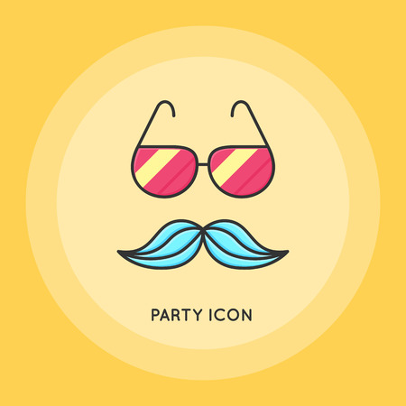 Glasses and mustache thin line vector illustration. Party and Celebration icon.