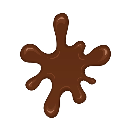 chocolate splash: Chocolate splash blot. Chocolate blot with melting effect. Vector abstract spot on white background.