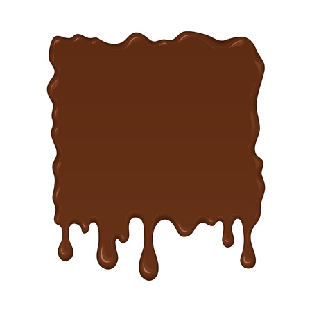 melted chocolate: Vector illustration - melted chocolate drips and flowing. Abstract brown splash liquid. Banner in cartoon style. Stain shape isolated on white background